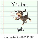 flashcard letter y is for yelp... | Shutterstock .eps vector #386111200