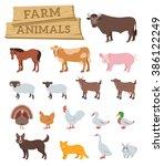 domestic farm animals flat... | Shutterstock .eps vector #386122249