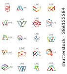 set of linear abstract logos ... | Shutterstock . vector #386122384
