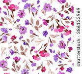 pattern with flowers and plants.... | Shutterstock . vector #386122969