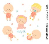 set with cute baby girls.... | Shutterstock .eps vector #386124136