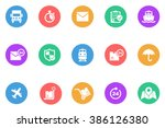 logistic icon flat | Shutterstock .eps vector #386126380