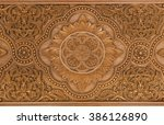 details of a fine wood carving... | Shutterstock . vector #386126890