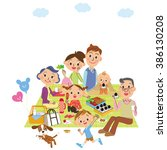 three generation family goes on ... | Shutterstock .eps vector #386130208