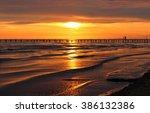 golden natural sea sunset view... | Shutterstock . vector #386132386