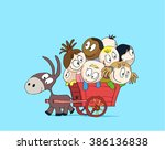 children ride in a cart with a... | Shutterstock .eps vector #386136838