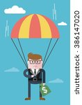 businessman parachuting with... | Shutterstock .eps vector #386147020