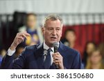Small photo of NEW YORK CITY - MARCH 2 2016: Hillary Clinton affirmed her status as front-runner for the Democratic presidential nominations with a speech at Jacob Javits Center. NYC mayor Bill de Blasio