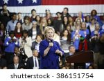 Small photo of NEW YORK CITY - MARCH 2 2016: Hillary Rodham Clinton affirmed her status as front-runner for the Democratic presidential nominations with a speech at Jacob Javits Center