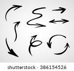 hand drawn arrows  vector set | Shutterstock .eps vector #386154526