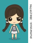 cute little girl with pigtails... | Shutterstock . vector #386159794