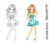 coloring book vector... | Shutterstock .eps vector #386168779