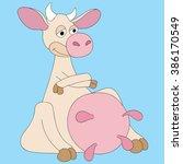 illustration cartoon cow very... | Shutterstock . vector #386170549