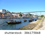 view of oporto with d. luis... | Shutterstock . vector #386175868