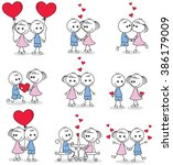 collection set of cute couple... | Shutterstock .eps vector #386179009