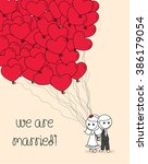 cute wedding couple doodle with ... | Shutterstock .eps vector #386179054