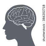 vector brain silhouette... | Shutterstock .eps vector #386202718