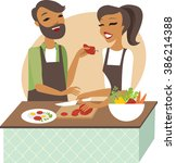 young couple preparing healthy... | Shutterstock .eps vector #386214388