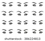 icons set female eyes look with ... | Shutterstock .eps vector #386224813