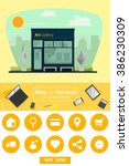 shop and flat icons for e...