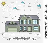 vector thin line icon  suburban ... | Shutterstock .eps vector #386232058