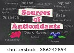 sources of antioxidants with... | Shutterstock . vector #386242894