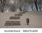 Stairway In Winter Snowy Night...