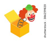 Clown Jumps Out Of Box Icon....