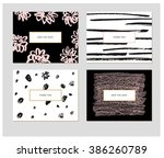 set of  four abstract cards... | Shutterstock .eps vector #386260789