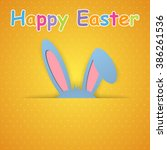 happy easter card with rabbit... | Shutterstock .eps vector #386261536