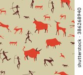 cave drawing pattern  ancient... | Shutterstock .eps vector #386268940