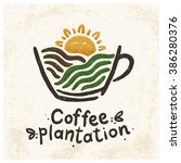 logo coffee plantations. the... | Shutterstock .eps vector #386280376