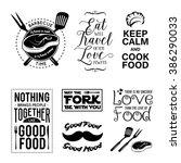 set of vintage food related... | Shutterstock .eps vector #386290033