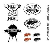 barbecue related labels  badges ... | Shutterstock .eps vector #386290039
