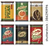 Vintage Food Cans. Retro Food...