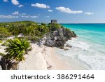 old maya beach in tulum   mexico | Shutterstock . vector #386291464
