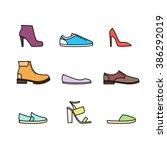 Color Linear Shoes Icon Set...