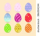 Easter Eggs Icons Isolated On...