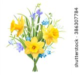 Spring Flowers Bouquet On Whit...