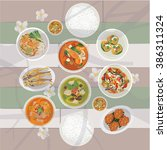 thai food set on the table | Shutterstock .eps vector #386311324