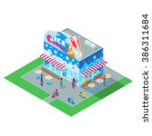 isometric building cafe ice... | Shutterstock .eps vector #386311684