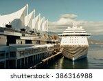 Stock photo cruise ship dock at vancouver pier 386316988