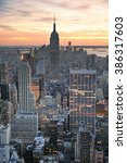 new york city skyline aerial...   Shutterstock . vector #386317603