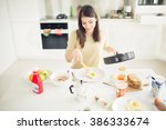runny fried eggs for breakfast... | Shutterstock . vector #386333674