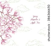 background with magnolia and... | Shutterstock .eps vector #386366650