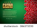 poker table cards and chips... | Shutterstock .eps vector #386373550