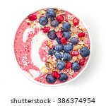 breakfast smoothie bowl... | Shutterstock . vector #386374954