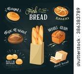 chalkboard ads set  bagel ... | Shutterstock .eps vector #386383789