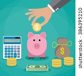 money saving concept. vector... | Shutterstock .eps vector #386395210