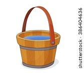 Hand Drawing Of Wooden Bucket...